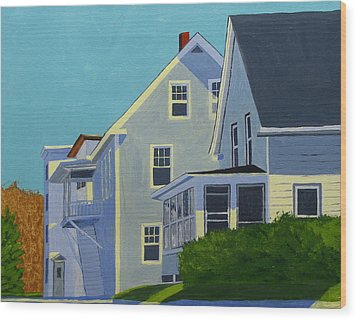 Hill Houses Wood Print by Laurie Breton