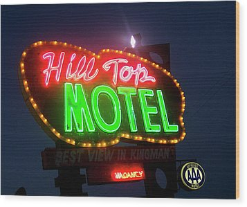 Wood Print featuring the photograph Hill Top Motel by Matthew Bamberg
