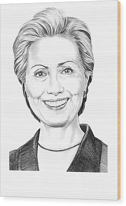 Hillary Clinton Wood Print by Murphy Elliott