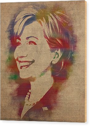 Hillary Rodham Clinton Watercolor Portrait Wood Print by Design Turnpike