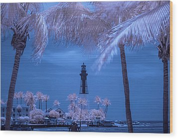 Wood Print featuring the photograph Hillsboro Inlet Lighthouse Infrared by Louis Ferreira