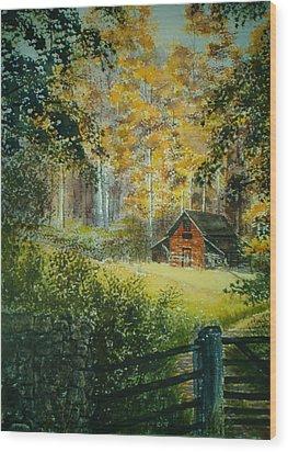 Hillside Barn Wood Print