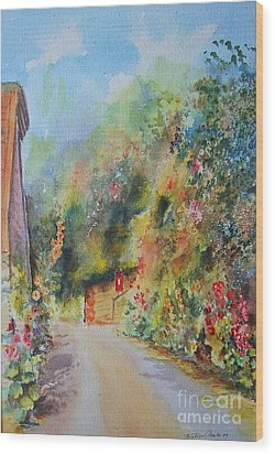 Wood Print featuring the painting Hillside Street Hythe Kent by Beatrice Cloake
