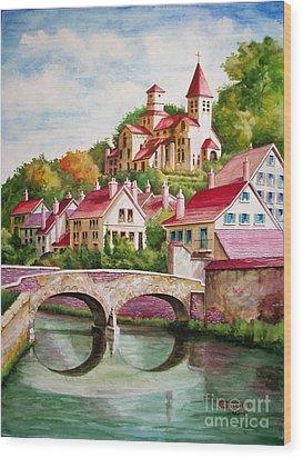 Hillside Village Wood Print by Charles Hetenyi