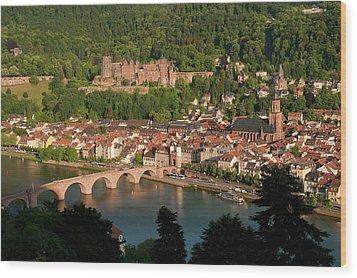 Hilltop View - Heidelberg Castle Wood Print by Greg Dale