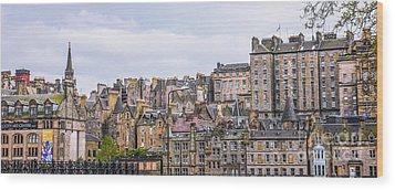 Hilly Skyline Of Edinburgh Wood Print