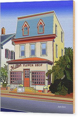 Hilton Flower Shop Wood Print by Stephen Younts