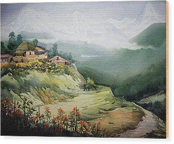 Wood Print featuring the painting Himalaya Village Landscape by Samiran Sarkar