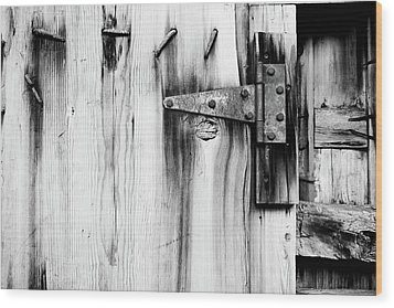 Hinged In Black And White Wood Print