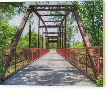 Hinkson Creek Bridge Wood Print by Cricket Hackmann