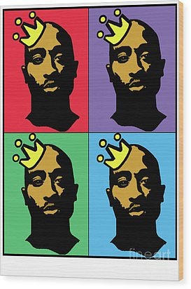 Hip Hop Icons Tupac Shakur Wood Print by Stanley Slaughter Jr
