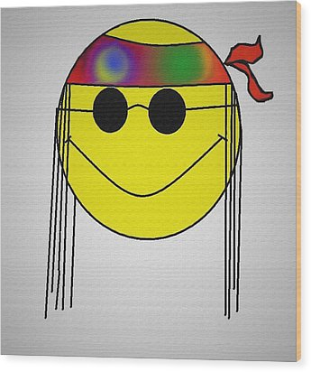 Hippie Face Wood Print by Bill Cannon