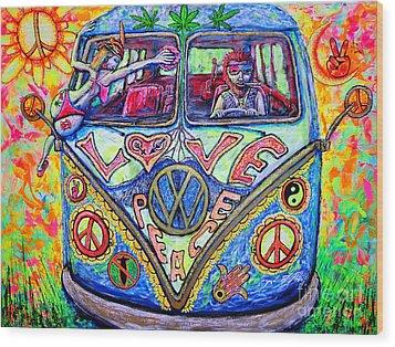 Hippie Wood Print by Viktor Lazarev