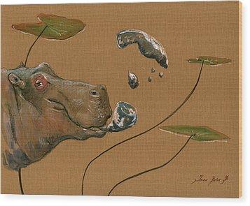 Hippo Bubbles Wood Print by Juan  Bosco
