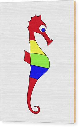Hippo-cam-pus The Sea Horse Wood Print by Asbjorn Lonvig