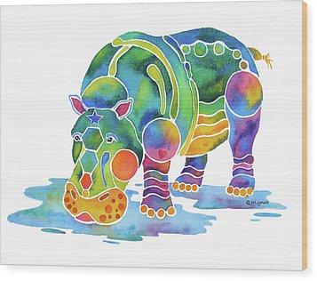 Hippo Heaven Wood Print by Jo Lynch