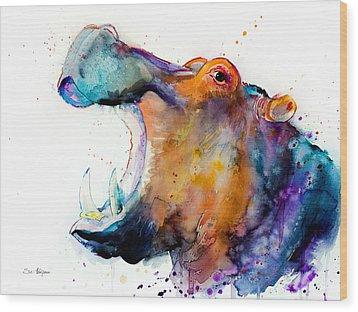 Hippo Wood Print by Slavi Aladjova