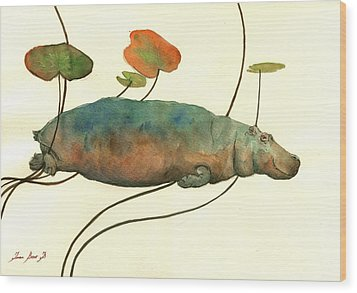 Hippo Swimming With Water Lilies Wood Print