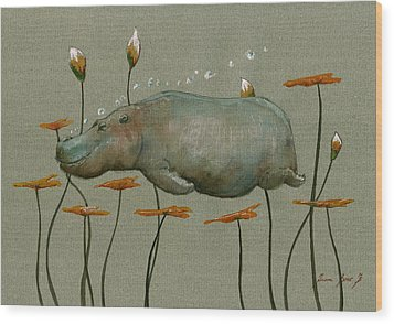 Hippo Underwater Wood Print by Juan  Bosco