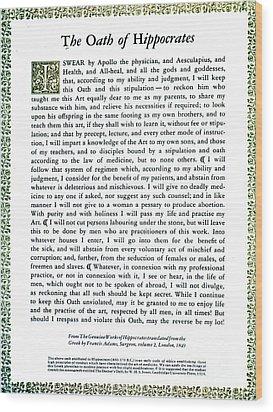 Hippocratic Oath, 1938 Wood Print