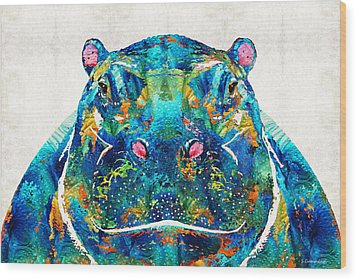 Hippopotamus Art - Happy Hippo - By Sharon Cummings Wood Print