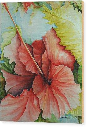 Hiroko's Hibiscus 2 Wood Print by Rachel Lowry