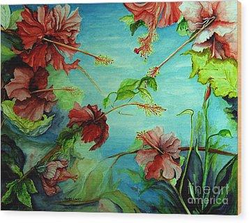 Hiroko's Hibiscus 4 Wood Print by Rachel Lowry