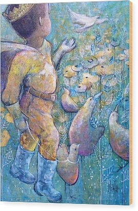 Wood Print featuring the painting His Dream by Eleatta Diver