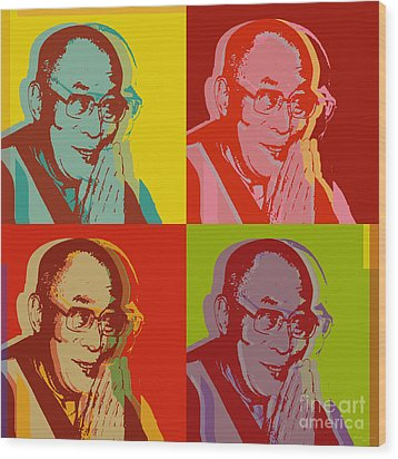 Wood Print featuring the digital art His Holiness The Dalai Lama Of Tibet by Jean luc Comperat