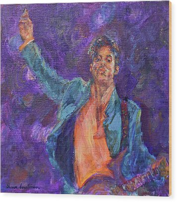 His Purpleness - Prince Tribute Painting - Original Art Wood Print by Quin Sweetman