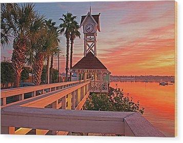 Historic Bridge Street Pier Sunrise Wood Print