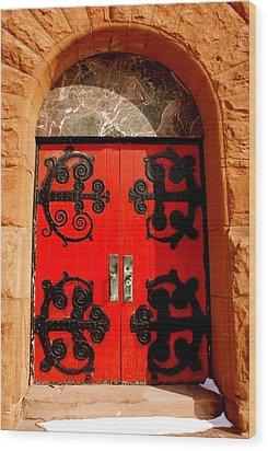 Historic Church Doors Wood Print by Sonja Anderson
