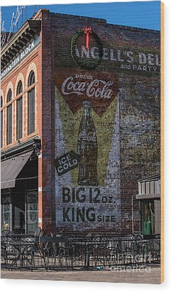 Wood Print featuring the photograph Historic Coca Cola Brick Ad - Fort Collins - Colorado by Gary Whitton