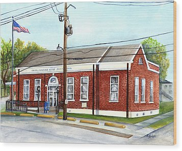 Historic District Post Office Wood Print by Elaine Hodges