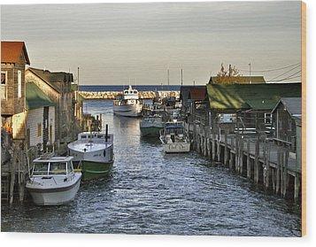 Historic Fishtown Docks Wood Print