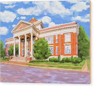 Wood Print featuring the painting Historic Georgia Southwestern - Americus by Mark Tisdale