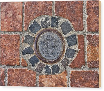 Wood Print featuring the photograph Historic Pavement Detail With Hungarian Town Seal by Menega Sabidussi