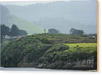Wood Print featuring the photograph Historic Portola Cross In Carmel by Susan Wiedmann