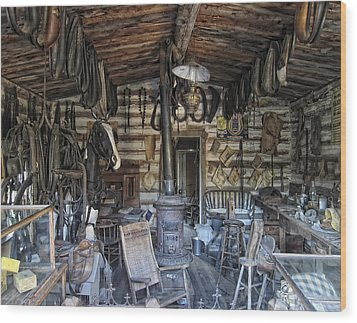 Historic Saddlery Shop - Montana Territory Wood Print by Daniel Hagerman