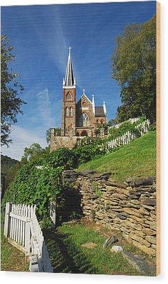 Historic Stone Church Harper's Ferry Wood Print by Mark VanDyke