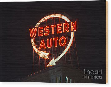 Historic Western Auto Sign Wood Print by Jean Hutchison