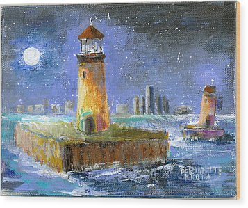 Historical 1859 South Channel Lights Full Moon Wood Print