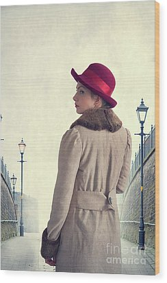 Historical Woman In An Overcoat And Red Hat Wood Print