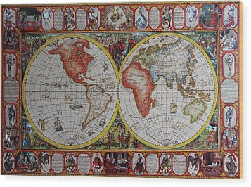 History Of Chess World Map Painted On Leatheder Wood Print