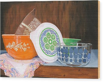 Wood Print featuring the painting History Of Pyrex by Lynne Reichhart