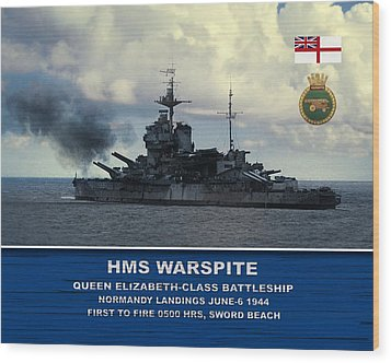 Wood Print featuring the digital art Hms Warspite by John Wills