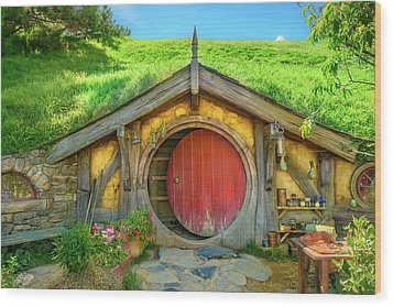 Hobbit House Wood Print by Racheal Christian