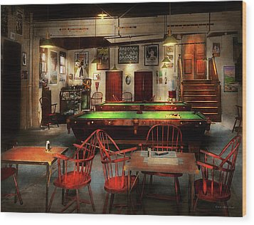 Wood Print featuring the photograph Hobby - Pool - The Billiards Club 1915 by Mike Savad