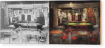 Wood Print featuring the photograph Hobby - Pool - The Billiards Club 1915 - Side By Side by Mike Savad