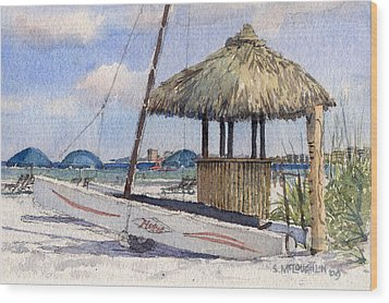 Hobie And Tiki On Crescent Beach Wood Print by Shawn McLoughlin